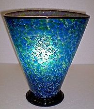 Green and Blue Oval Cone Lamp by Curt Brock (Art Glass Table Lamp)