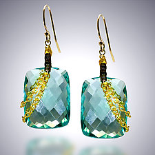 Aqua Quartz and Gold Chain Earrings by Judy Bliss (Gold & Stone Earrings)