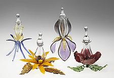 Flower Perfume Bottles by Loy Allen (Art Glass Perfume Bottle)
