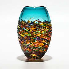 Optic Rib Barrel in Candy with Lagoon by Michael Trimpol and Monique LaJeunesse (Art Glass Vase)