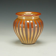 Raku Vessel with Striped Crackle Glaze by Lance Timco (Ceramic Vessel)