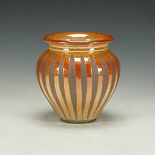 Raku Vessel with Striped Crackle Glaze by Lance Timco (Ceramic Vessel)