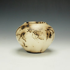 Horse Hair Raku Vessel, Black and Off-White by Lance Timco (Ceramic Vessel)