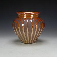Raku Vessel with Striped Crackle Glaze #3 by Lance Timco (Ceramic Vessel)