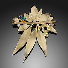 Wind in the Leaves Brooch by Ben Dyer (Gold & Stone Brooch)