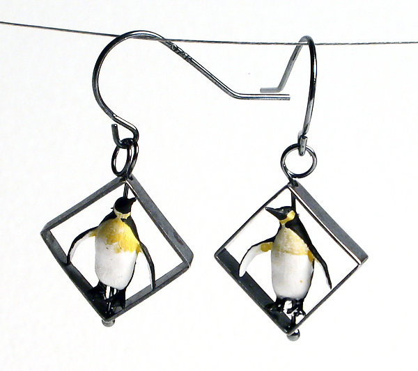Penguin In Squares Earrings