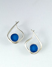 Modernist Hoop in Cyan by Amy Faust (Art Glass & Silver Earrings)