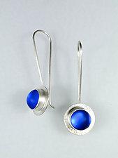 Rain Drop Earrings in Blue by Amy Faust (Art Glass & Silver Earrings)