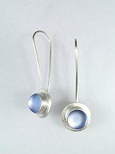 Rain Drop Earrings in Light Blue by Amy Faust (Art Glass & Silver Earrings)