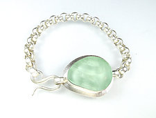 Classic Bracelet in Green by Amy Faust (Art Glass & Silver Bracelet)