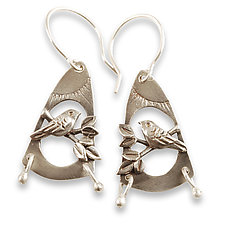 Meadowlark Earrings by Vickie  Hallmark (Silver Earrings)