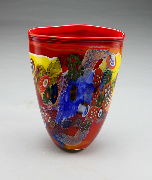 Ruby Color Field Vase with Yellow and Blue
