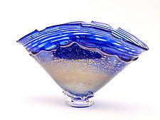 Optical Cobalt and Iris Overlay Bowl by Dierk Van Keppel (Art Glass Vessel)