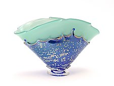 Turquoise Overlay Bowl by Dierk Van Keppel (Art Glass Vessel)