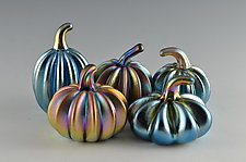 Glow Super Mini Pumpkins by Donald  Carlson (Art Glass Sculpture)