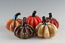 Harvest Super Mini Pumpkins by Donald  Carlson (Art Glass Sculpture)