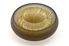 Facet Bowl in Bronze and Amber by Marc Carmen (Art Glass Bowl)