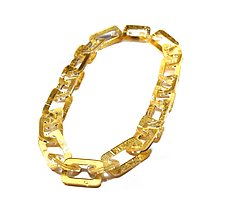 Acrylic & Gold Chain Link Necklace by Jennifer Merchant (Gold & Acrylic Necklace)
