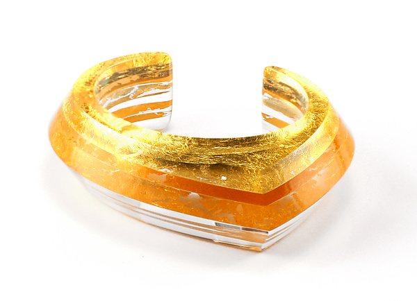 Acrylic & Gold Beveled Cuff