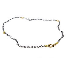 Chain with 18k Small Open Pebble Links by Rona Fisher (Gold & Silver Necklace)