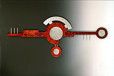 Abstract Stained Cherry Circle by Evy Rogers (Wood & Metal Wall Sculpture)