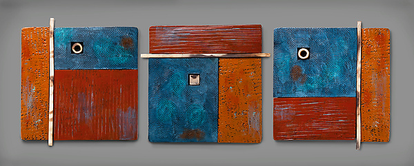 Serenity Triptych in Blue and Brown
