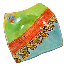 Row of Flowers by Laurie Pollpeter Eskenazi (Ceramic Plate)