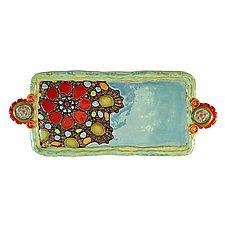 Lina's Petals Long Tray by Laurie Pollpeter Eskenazi (Ceramic Tray)