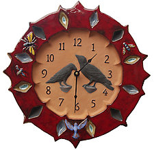 Ravens Wall Clock - Red Glaze on Terra-Cotta by Beth Sherman (Ceramic Wall Art)