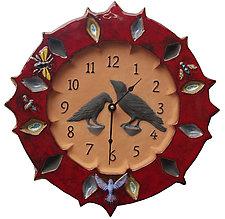 Ravens Wall Clock - Red Glaze on Terra-Cotta by Beth Sherman (Ceramic Wall Art)