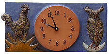 Rooster & Owl Wall Clock- Blueberry and Terracotta by Beth Sherman (Ceramic Clock)