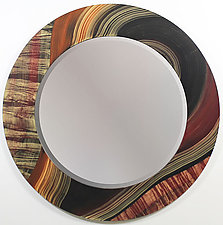River Tiger Round Mirror by Ingela Noren and Daniel  Grant (Wood Mirror)