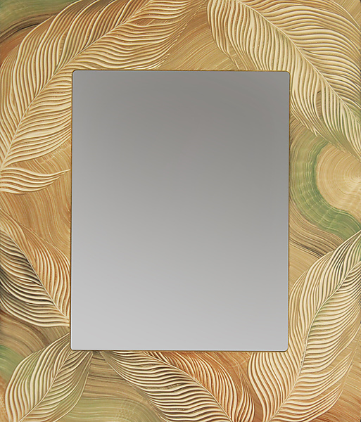 Tan Sage Leaf Mirror