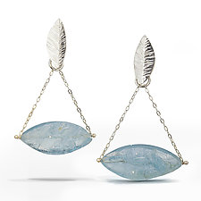 Aquamarine - Raw Surface Chandelier Earring by Danielle Miller (Silver & Stone Earrings)