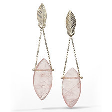 Rose Quartz - Raw Surface Chandelier Earring by Danielle Miller (Silver & Stone Earrings)
