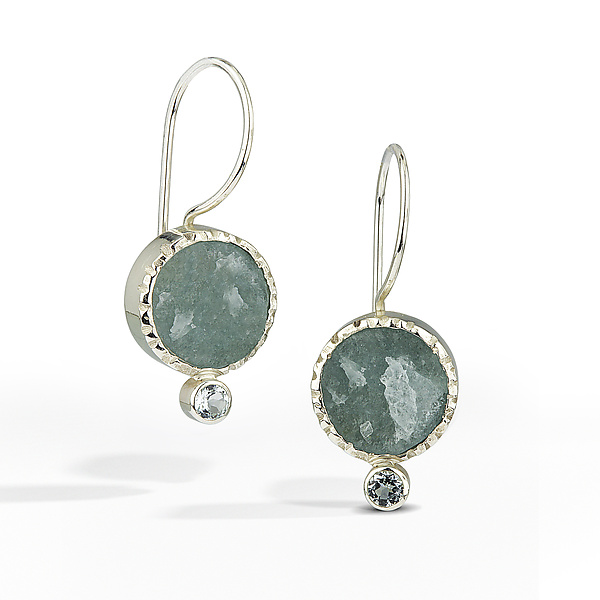 Aquamarine - Raw Surface Earring