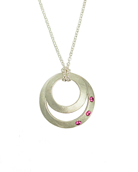 Clasp Mini Pendant with Rubies