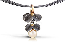Double Blossom Pendant by Christine MacKellar (Gold, Silver & Pearl Necklace)