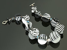 Wings Necklace Round in Black White Mix by Arden Bardol (Polymer Clay Necklace)