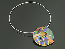 Wings and Window Pendant in Multi Mix Periwinkle by Arden Bardol (Polymer Clay Necklace)