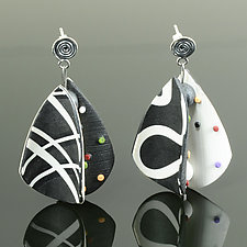 Wings Earrings Teardrop in Black White Mix by Arden Bardol (Polymer Clay Earrings)