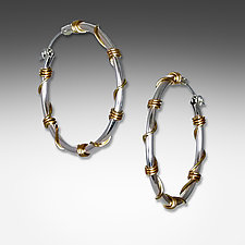 Large Silver and Gold Wrapped Hoops by Suzanne Q Evon (Gold & Silver Earrings)
