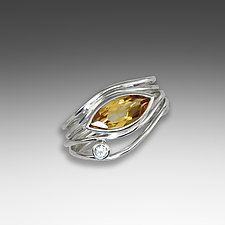 Silver and Citrine East West Ring by Suzanne Q Evon (Silver & Stone Ring)
