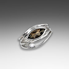 Silver and Smoky Quartz East West Ring by Suzanne Q Evon (Silver & Stone Ring)