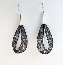 Pearls in Net Earrings by Dagmara Costello (Nylon & Pearl Earrings)