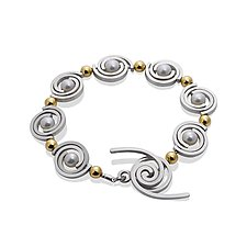 Articulating Petite Spiral 2-Tone Bracelet by Martha Seely (Gold, Sliver and Pearl Bracelet)