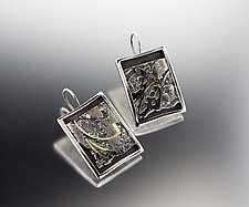 LavaFlow Abstract Earrings by Jan Van Diver (Silver Earrings)