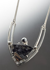 Troika Gemstone Pendant by Jan Van Diver (Silver & Stone Necklace)