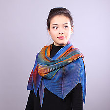 Shibori Shawl in Orange Red and Blue by Min Chiu and Sharon Wang (Silk Scarf)