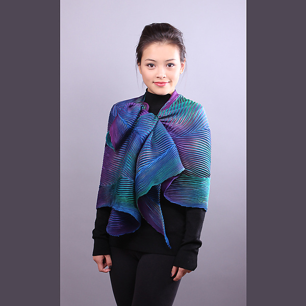 Shibori Shawl in Turquoise and Royal Blue